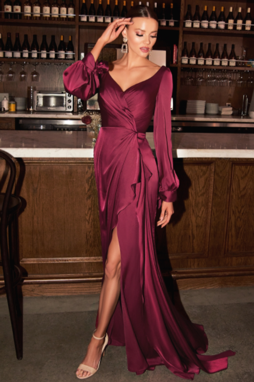 Stunning Satin Long Sleeve Dress