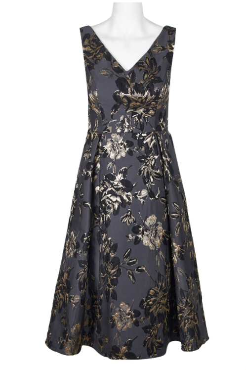 Adrianna Papell V-Neck Sleeveless Pleated Floral Jacquard Dress