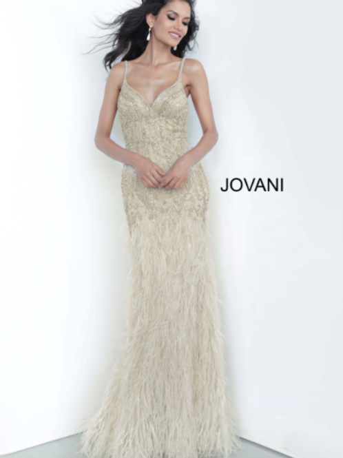Jovani 68827 Cream Spaghetti Straps Embellished Evening Dress
