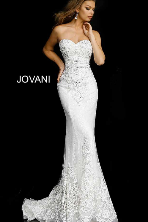 JOVANI Off White Nude Embellished Backless Bridal Gown