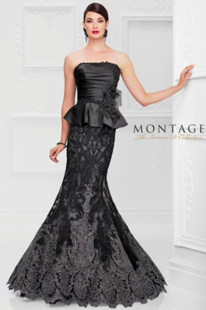 Mon Cheri Strapless Satin & Lace Trumpet Gown with hand-beaded Gown