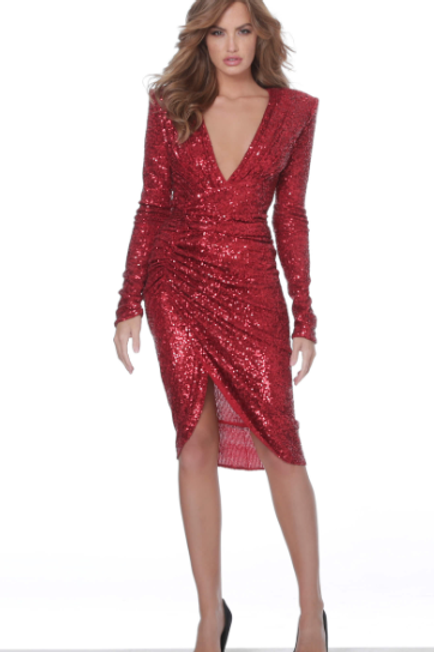 Jovani 04257 Red V Neck Long Sleeve Cocktail Dress