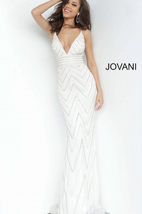 Jovani 2267 Beaded V Neck Prom Dress