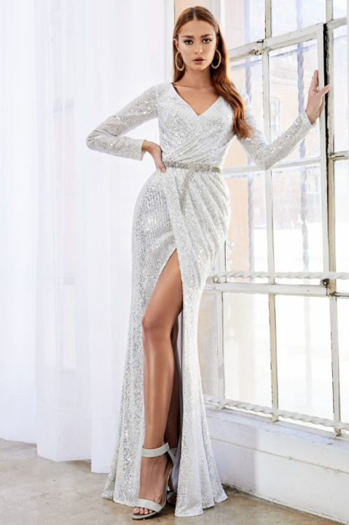 Andrea & Leo Long Sleeve Ruched Sequin Sheath Gown
