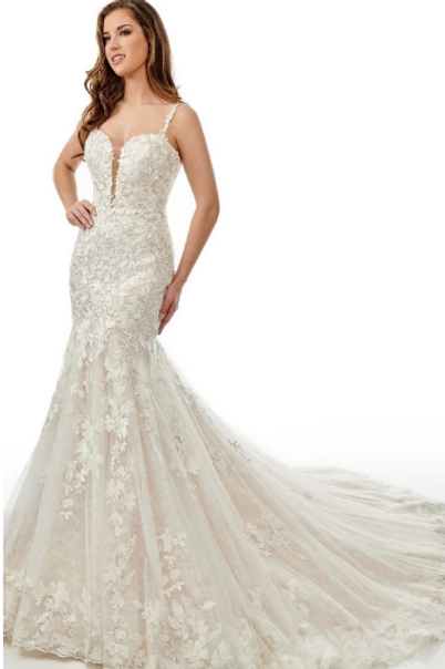 Lace Applique Mermaid Bridal Gown With Long Train