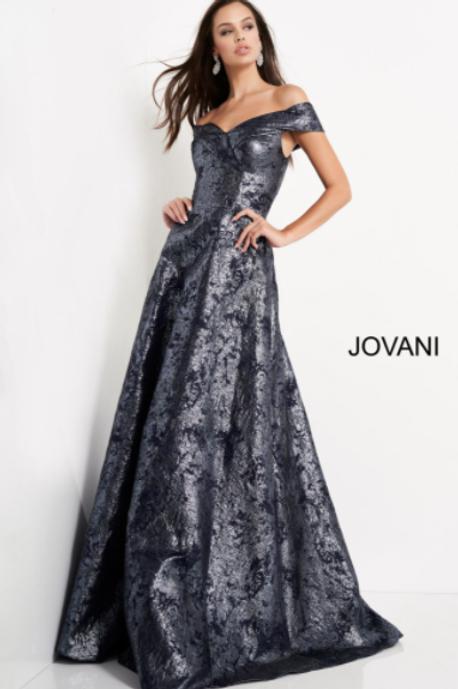 Jovani 03674 Navy Metallic Off the Shoulder Evening Dress
