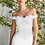Thumbnail: Off the shoulder fitted gown with lace applique details and stretch jersey
