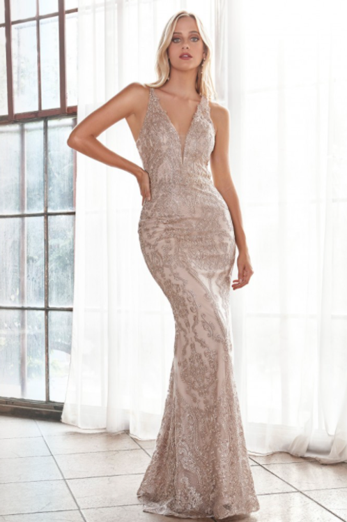 Embellished Lace Sheath Gown