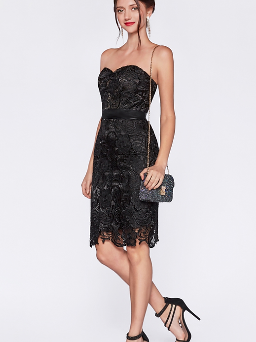 Strapless Lace Cocktail Dress With Sweetheart Neckline
