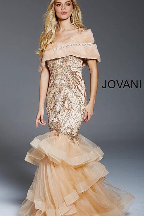 Jovani 48729 Champagne Embellished Sleeveless Evening Dress