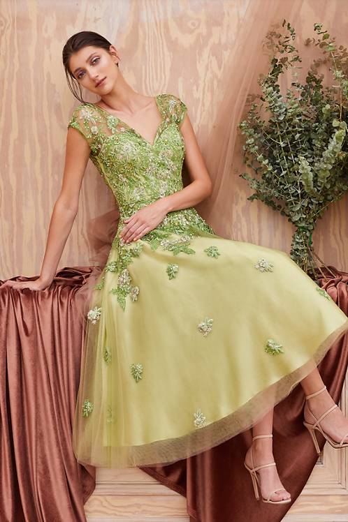 Andrea & Leo Floral/greenery Embroidery Lace W/Beads Dress