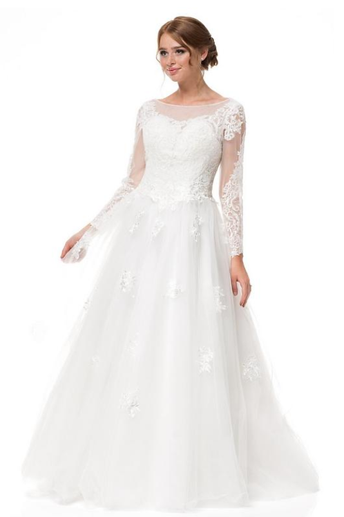 Embroidery Beaded Tulle Bridal Gown