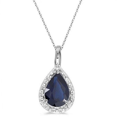 Pear Shaped Blue Sapphire Pendant Necklace 14k White Gold (0.85ct)