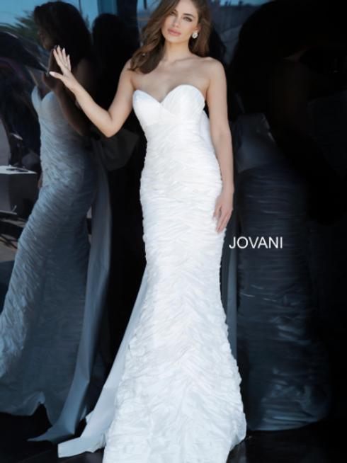 JOVANI Strapless Sweetheart Neckline Jovani Wedding Gown 02035