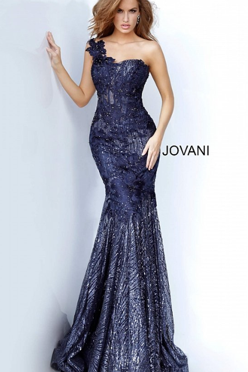Jovani 02445 One Shoulder Sweetheart Neck Evening Gown