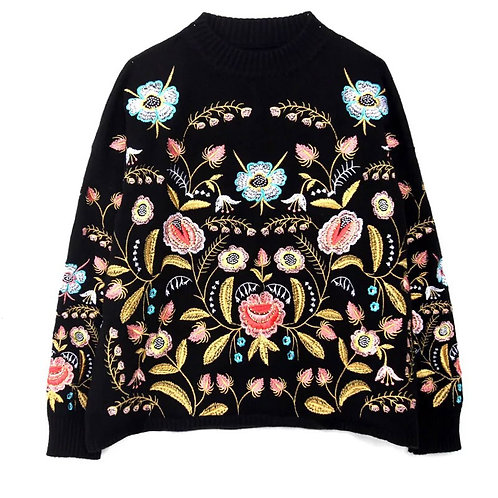 SWEATER, KNIT AND EMBROIDERY