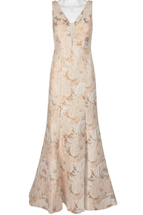 Aidan Mattox V-Neck Sleeveless Flutter ZIpper Back Floral Metallic Jacquard Dres