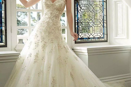 Bridal Gown Cathedral Train Lace with Organza