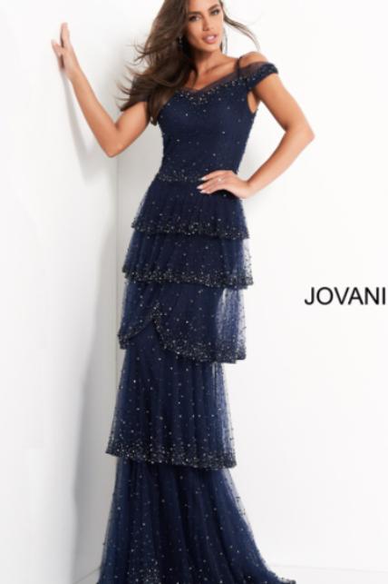 Jovani 04859 Navy Off the Shoulder Beaded Evening Dress