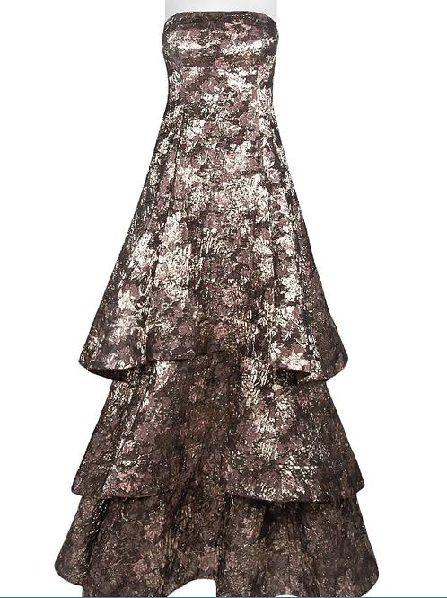 Aidan Mattox Strapless A-Line Tiered Zipper Back Metallic Jacquard Dress