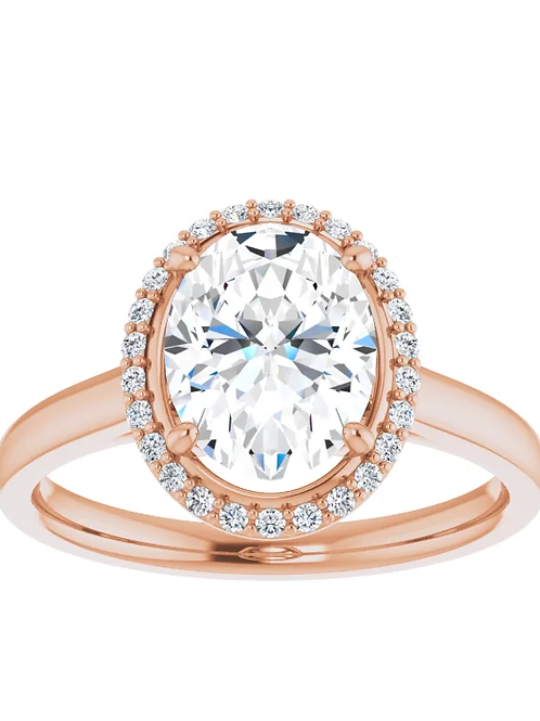 14K Rose 9x7 mm Oval Forever One™ Moissanite Diamond & 1/10 CTW Diamond Engageme