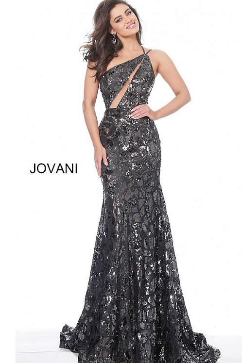 Jovani 4553 Steel Fitted Lace Evening Dress