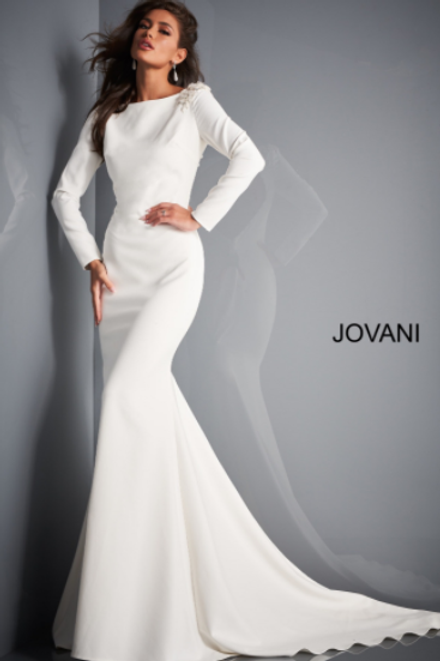 JOVANI JB2508 Ivory Long Sleeve Open Back Bridal Dress