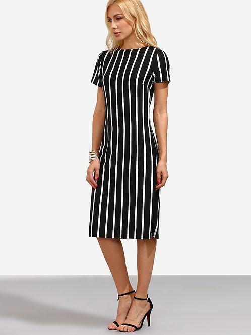 Black Vertical Striped Sheath Dress