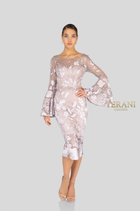Terani Couture Long Bell Sleeve Embroidered Dress