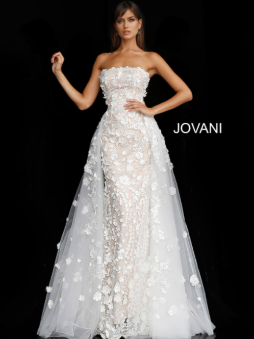 JAVONI Off White Nude Floral Appliques Strapless Bridal Gown 55616