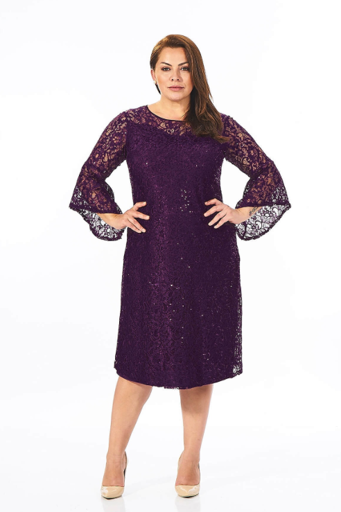 Plus Size Long Illusion Bell-Sleeve Dress