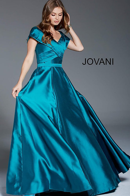 Teal Off the Shoulder A-Line Evening Gown 61055