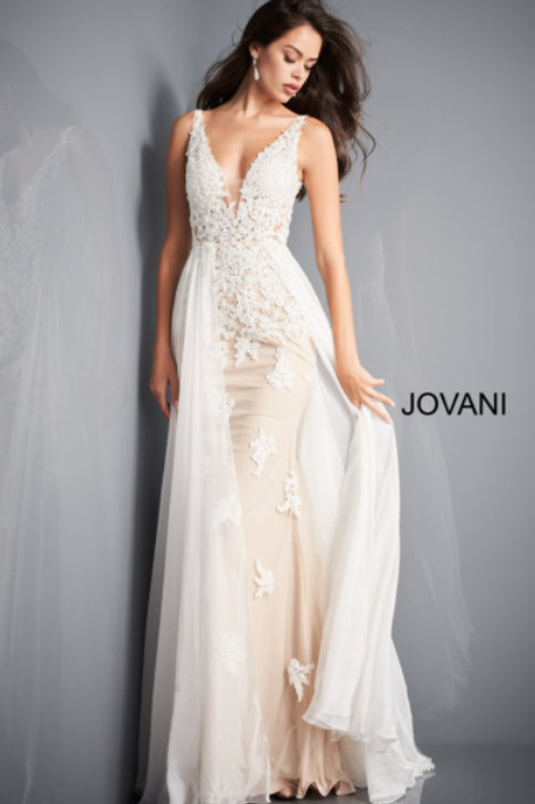 Jovani 3117 Off White Nude Floral Appliques Wedding Dress