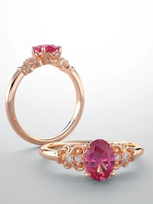 14K Rose Morganite & .04 CTW Diamond Ring
