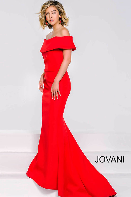 Red Off The Shoulder Long Dress 42756