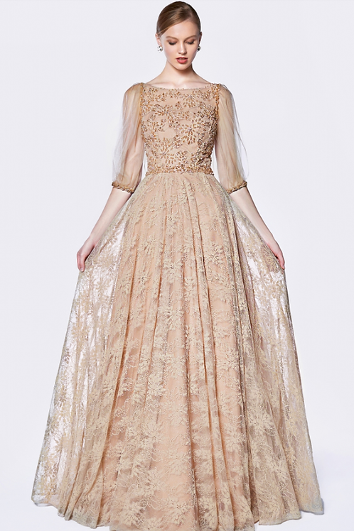 Golden A-line Gown With Decadent Beaded Lace