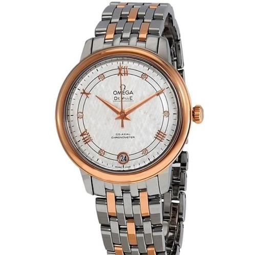 OMEGA Women's De Ville Stainless Steel and 18kt Rose Gold Silver Dial