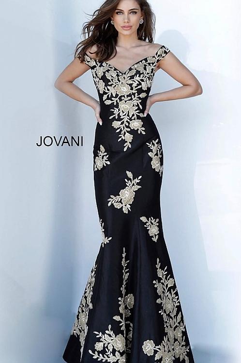 JOVANI Off the Shoulder Embellished Evening Dress 00635