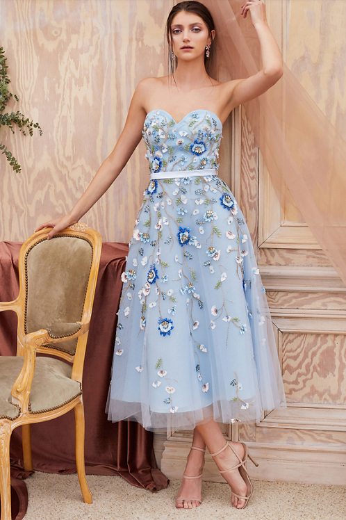Andrea & Leo Floral Beading W/ HandcraftedSatin Bead Embellished Gown