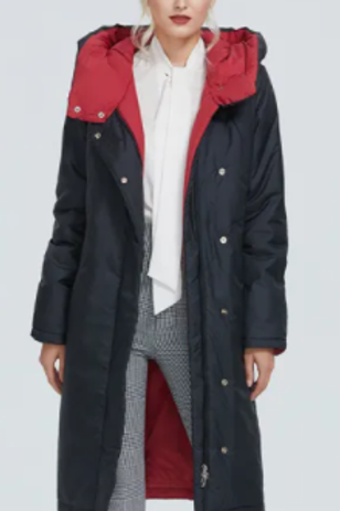 Parkas Winter Down Coat W Contrast Color Long Thick Lining