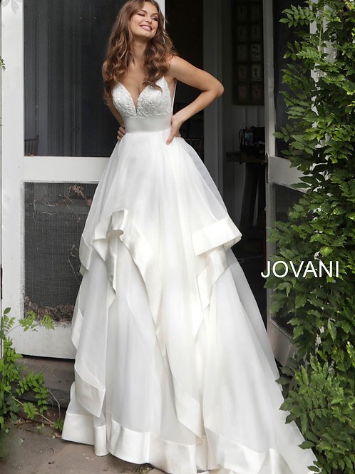 Off White Plunging Neckline V Back Wedding Ballgown JB68160