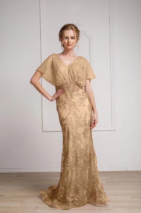 Mignon Manley V-Neckline Gorgeous Floral Long Evening Gown