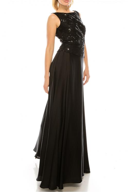 Aidan Mattox Black Sleeveless Peplum A-Line Evening Gown