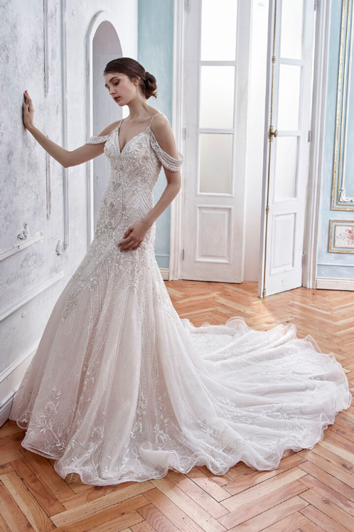 Tulle Satin OrganzaSpaghetti Off-shoulder Beaded Lace Bridal Gown