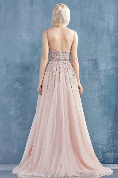 ANDREA & LEO Sara Trickle Beaded Chiffon A-Line Gown