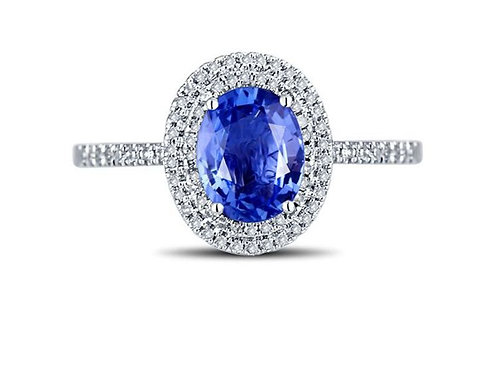RING, 18K GOLD DIAMOND AND SAPPHIRE RING