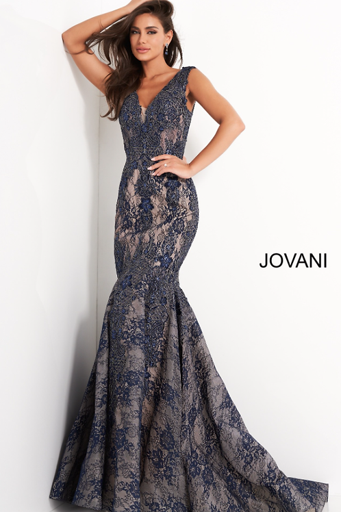 Jovani 04585 Navy Lace V Neck Mermaid Evening Dress