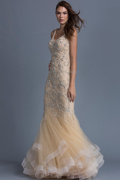 Sweetheart Trumpet Long Dress With Open V-Back