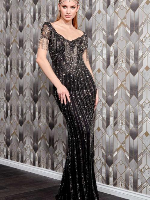 Danaya Hand Embellished Shoulder Fringe Maxi Dress