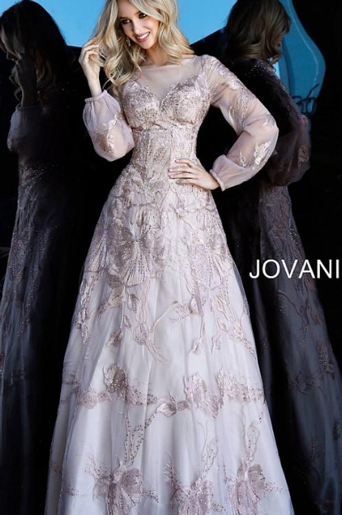 Jovani 67444 Mauve Long Sleeve Boat Neckline Evening Dress